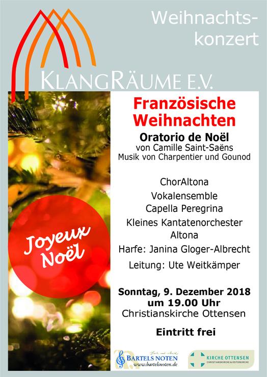 KlangRäume Weihnachtskonzert mit dem Oratorio de Noel am 9.12.2018