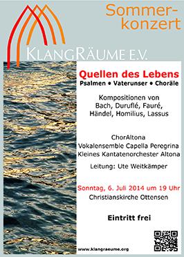 KlangRäume Sommerkonzert 2014: Quellen des Lebens