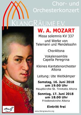 KlangRäume-Konzerte 2018 mit Werken von W.A. Mozart und anderen