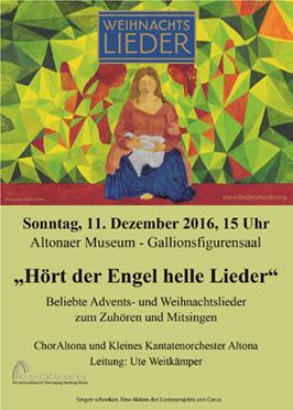 Weihnachtsliedersingen im Altonaer Museum 2016 mit dem ChorAltona und dem Kleinen Kantatenorchester Altona