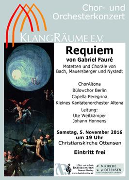 KlangRäume Konzert 2016 mit dem Bülowchor Berlin: Fauré Requiem
