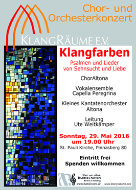 KlangRäume Konzert 2016: Klangfarben mit ChorAltona, Capella Peregrina und KKO