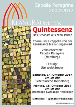 Capella Peregrina Jubiläumskonzerte 2017 auf Tour: Quintessenz