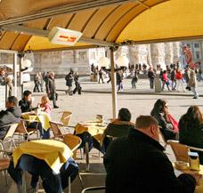 Terrassenheizung beheizen Pavillon Gastronomie Gastroterrasse Terrasse