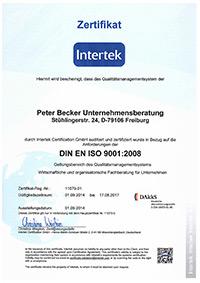 Becker Unternehmensberatung Freiburg - Zertifikat Intertek
