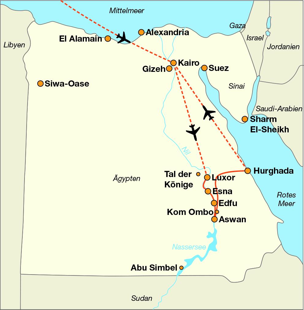 karte ägypten bis israel