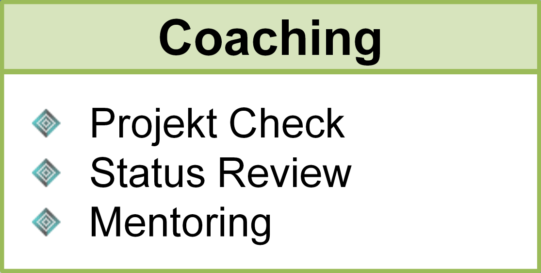 Coaching, Projekt Check, Status Review, Mentoring